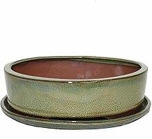 Bonsai-Schale mit Unterteller Gr. 4 - oval O1 -