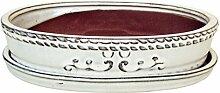 Bonsaischale glasiert creme oval mit Untersetzer,