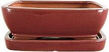 Bonsaischale mit Untersetzer 21.5x16x7cm Weinrot