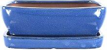 Bonsaischale mit Untersetzer 21x16x7cm Blau