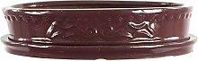 Bonsaischale mit Untersetzer 24.5x17.5x5cm Weinrot