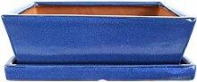 Bonsaischale mit Untersetzer 25.5x19x8cm Blau
