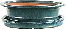 Bonsaischale mit Untersetzer 26.5x21x7cm Blaugrün