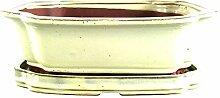Bonsaischale mit Untersetzer 31x26x10.5cm Weiß