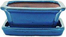 Bonsaischale mit Unterteller Gr. 1 - Blau - eckig