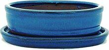 Bonsaischale mit Unterteller Gr. 2 - Blau - oval -