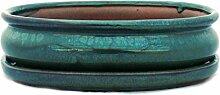 Bonsaischale mit Unterteller Gr. 3 - Grün - oval