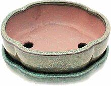Bonsaischale mit Unterteller Gr. 3 - Olive-Braun -