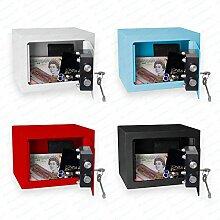 Bonzus® Minisafe Minitresor Safe Mini Safe Tresor Wandsafe Geldschrank Geldkassette BZ1 (Sparpaket 4 Stück gemischt (einer je Farbe ))