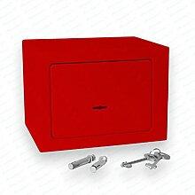 Bonzus® Minisafe Minitresor Safe Mini Safe Tresor Wandsafe Geldschrank Geldkassette BZ1 (Sparpaket 4 Stück rot)