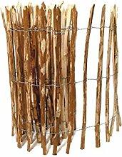 BOOGARDI Kastanienzaun in 14 Größen · Staketenzaun Kastanie Natur Roll-Zaun aus Haselnuss · 90 x 500 cm ( Lattenabstand 3-5 cm )