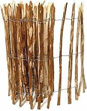 BooGardi Kastanienzaun in 28 Größen · Staketenzaun 80 x 500 cm (Lattenabstand 3-5 cm) aus Haselnuss · Rustikaler Gartenzaun als Rolle mit gespaltenen Staketen