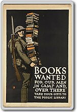 Books Wanted For Our Men In Camp And Over There - Vintage War Poster fridge magnet - Kühlschrankmagne
