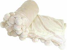 Boon Pompon Bett Couch Überwurf Decken, 127x 152,4cm Antik Weiß
