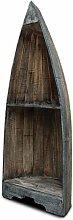 Boot Regal Bücherregal Bücherschrank Wandregal Standregal Aufbewahrung Konsole Bord 95 cm Albesia Holz Braun Blau