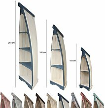 Bootsregal Boot Regal Bücherregal Bücherschrank Standregal Aufbewahrung 104 cm Albesia Holz Weiß Blau