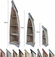 Bootsregal Boot Regal Bücherregal Bücherschrank Standregal Aufbewahrung 104 cm Albesia Holz Braun Blau