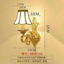 BOOTU LED Alle Kupfer Schlafzimmer Wand lampe