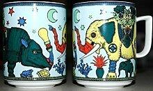 BOPLA! Maxitasse (0,3l RHINOPHANT Grundfarbe hellblau) Serie PARADISE CLASSICS) Kaffee- Tee- Glühwein- Becher, Maxi Tasse, Mug, Maxi Taza, Maxi Cup, Maxit Taza 0,3 l, 10-1/2 fl. oz.