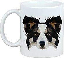 Border Collie, Becher mit einem Hund, Tasse, Keramik, neue geometrische Sammlung
