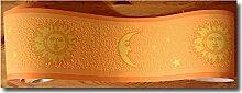 Bordüre leuchtet Sonne Mond Sterne orange gelb