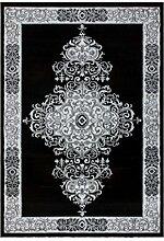 Bordüre Ornament Teppiche Schwarz Beige Grau Weiß Modern Klassisch Teppich, Größe:80cm x 300cm