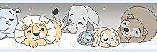 Bordüre selbstklebend in Papier duplex für Kinderzimmer mit Position Tiere hellblau creme taupe braun elfenbein 591–1treboli