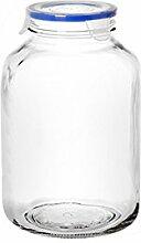 Borgonovo 6245231Superblok Vorratsdose aus Glas, 3100CC, transparent/blau