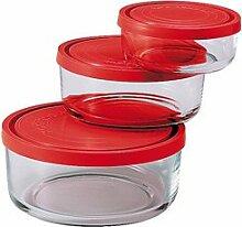Bormioli 226017-S02 Gelo Box Vorratsdose Glas transparent mit rotem Deckel, 3 Stück