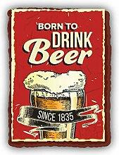 Born to Drink Beer Grunge Retro Emblem -