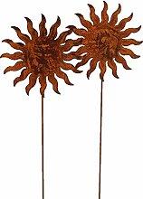 Bornhöft 2er Set Gartenstecker Sonne 20cm x 60cm