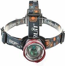 Boruit Led kopflampe stirnlampe LED Hochleistung Stirnlampe LED Kopflampe Taschenlampe 1200LM Fischauge Fokussierung Lampe rot Lampenfassung