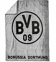 Borussia Dortmund BVB Fleecedecke mit Logo,