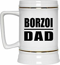 Borzoi Dad - Beer Stein Bierkrug Keramik