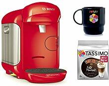 Bosch TASSIMO VIVY 2 + T-Discs Baileys + Tupper Becher Kapselmaschine (Rot)