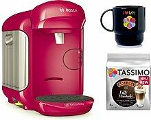 Bosch TASSIMO VIVY 2 + T-Discs Baileys + Tupper Becher Kapselmaschine (Pink)