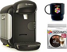 Bosch TASSIMO VIVY 2 + T-Discs Baileys + Tupper Becher Kapselmaschine (Schwarz)