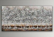 Bosco Silber Acryl Gemälde auf Leinwand von Hand