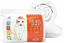 Boston Duvet & Pillow Co Wolle Kids Quilt & Pillow-Set, weiß