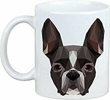 Boston Terrier, Becher mit einem Hund, Tasse, Keramik, neue geometrische Sammlung
