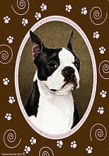 Boston Terrier Pink Paw Garten Flagge 71,1x
