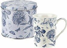 Botanic blau Becher und Zinn Set, Porzellan, Blau und Weiß, 13x 13x 11,5cm