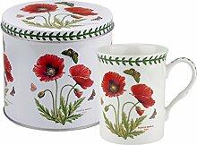 Botanic Garden Poppy Motiv Becher und Zinn Set, Porzellan, mehrfarbig, 13x 13x 11,5cm