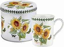 Botanic Garden Sonnenblume Motiv Becher und Zinn Set, Porzellan, mehrfarbig, 13x 13x 11,5cm