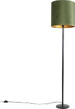 Botanische Stehlampe schwarz mit grünem Schirm 40