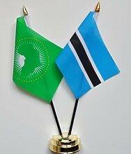 Botswana & African Union Freundschaft Tisch Flagge Display 25cm (25,4cm)
