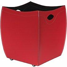 BOTTE: Kaminholzkorb aus Leder farbe Rot, Holzkorb, Feuerholzkorb, Brennholzkorb, Exlusivdesign aus Italien, Limac Design®.