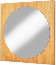 BOTZEN Spiegel Badezimmerspiegel Badmöbel Hängespiegel Badspiegel 80 x 80 cm Kiefer massiv, gebeizt geöl