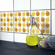 Boubouki Fliesenaufkleber / 4er Set Apple 16 orange
