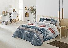 Bouti Kleiderschrank Bett Cama de 135 ó 140 Jeansblau